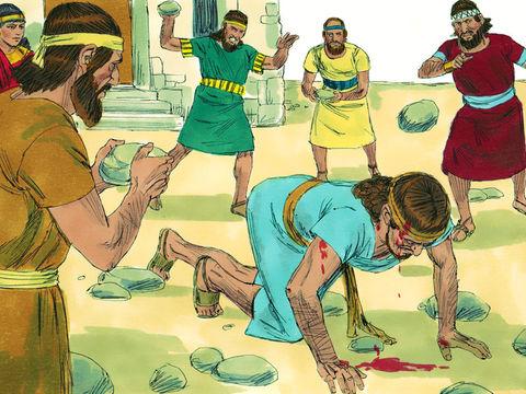 La reine Jézabel, épouse du roi Achab, a envoyé une lettre marquée du sceau royal pour faire assassiner Naboth, sous de fausses accusations. Naboth est lapidé jusqu'à ce qu'il en meure.