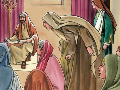 Une femme est habitée par un esprit mauvais qui la rend infirme depuis 18 ans. Elle est courbée et ne peut plus de tout se redresser. Quand Jésus la voit, il lui dit : « Femme, tu es délivrée de ton infirmité.»