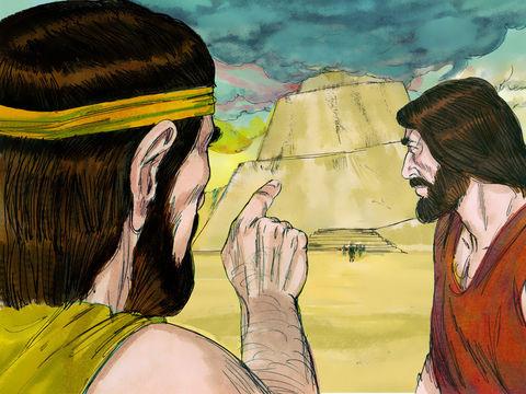 La construction de Babel par Nimrod, un puissant chasseur en opposition avec Jéhovah. La Tour immense, produite par l'orgueil de l'homme, se voulait être aussi élevée que Dieu. Elle serait devenue le symbole du pouvoir politique et religieux.