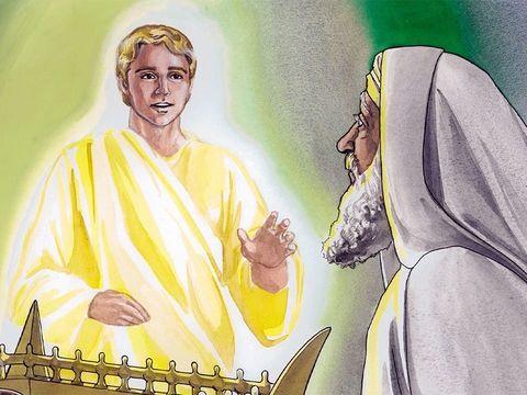 Un ange nommé Gabriel a prévenu Zacharie que sa femme Elizabeth allait donner naissance à Jean le Baptiste.