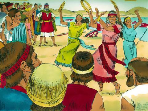 Après avoir traversé miraculeusement la mer rouge, les Israélites exultent de joie. Myriam et les femmes chantent et dansent.