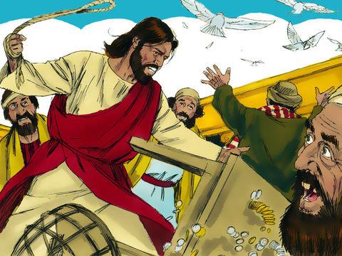 En colère, Jésus chasse les marchands du Temple en renversant leurs tables et leurs sièges, les disciples se souvenant alors qu'il est écrit: « le zèle de ta maison me dévore » Cet épisode illustre la fin des bénéfices faits au nom de la religion.