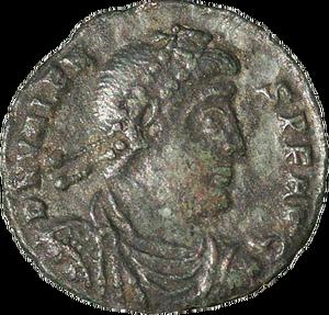 Sesterce à l'effigie de Valens tué à la bataille d'Andrinople contre les Goths commandés par Fritigern. La prophétie de Daniel 11: 6 avait prédit que le roi du sud et son armée ne résisteraient pas.