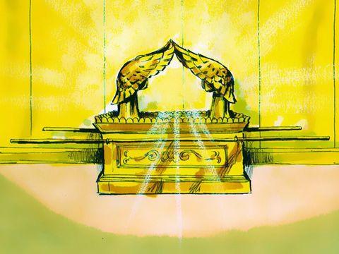 Dans le sanctuaire, la présence de Dieu est symbolisée par une nuée s'élevant de l'arche de l'Alliance dans le Très- Saint. C'est précisément au dessus du propitiatoire de l'arche sculpté de 2 chérubins que Dieu s'adresse au grand prêtre.
