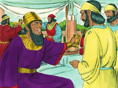 Le 7ème jour de ce banquet, le roi Assuérus ordonne à 7 eunuques qui sont à son service de faire venir la reine Vashti, une belle femme, coiffée de la couronne royale pour montrer sa beauté au peuple et aux princes.
