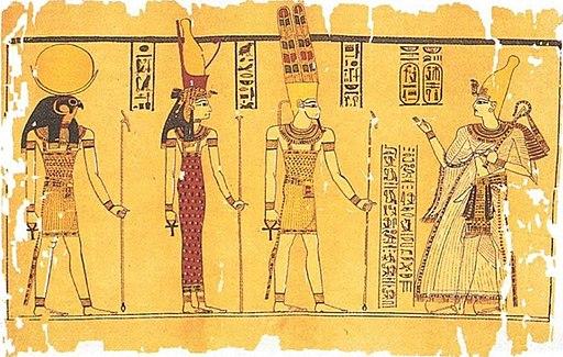 La triade de Thèbes est constituée par Amon, Mout et leur fils Khonsu.  Ramsès III (droite) devant la triade de Thèbes, du papyrus Harris.