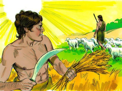 c'est le sacrifice d'Abel qui est agréé. Caïn en est jaloux. Dieu le prévient de ne pas laisser la colère et la jalousie l'envahir.