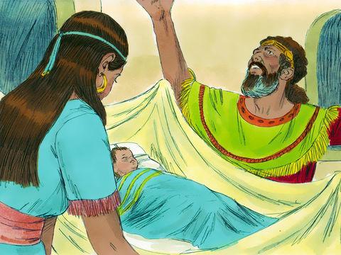 Après le péché de David avec Bathshéba et le meurtre de son mari, le prophète Nathan annonce que Dieu fera mourir leur enfant. Pendant 6 jours, David refuse de manger. Le septième jour, l'enfant meurt.