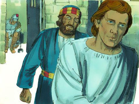 Pierre est enchaîné et dort entre deux gardes. Un ange vient le libérer. L'ange réveilla Pierre en le frappant au côté et lui dit: «Lève-toi vite!» Les chaînes tombèrent de ses mains.