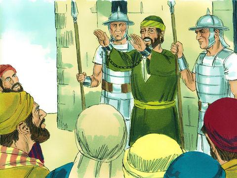 Le commandant permet à Paul de s'exprimer en hébreu devant les foules afin de leur raconter ses origines juives, sa lutte contre les chrétiens, sa rencontre avec Jésus sur le chemin de Damas, sa mission pour Dieu et Jésus.