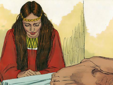 Alors que Jésus est invité chez un pharisien, une prostituée  vient avec humilité et reconnaissance vers Jésus. Alors, sous les yeux des autres convives qui l'ont déjà jugée, elle pleure sur ses pieds, les essuie avec ses cheveux,