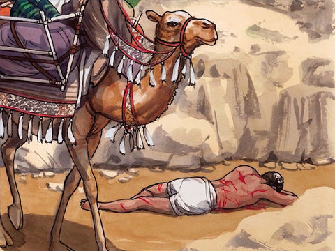 Parabole du bon Samaritain: Un Lévite vient à passer près de l'homme étendu par terre, il ne le secours pas non plus.