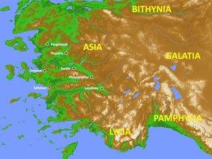 Ephèse, Smyrne, Pergame, Thyatire, Sardes, Philadelphie et Laodicée Asie Mineure livre de l'Apocalypse 7 églises