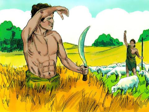 Les deux fils d'Adam et Eve font chacun une offrande à Dieu mais seule l'offrande d'Abel est agréée, ce qui attise la jalousie de Caïn.