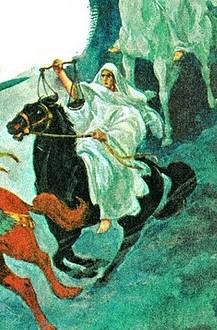 Le troisième cavalier de l'Apocalypse tient une balance qui représente la faim, le rationnement, il chevauche un cheval de couleur noire, la couleur du désespoir et de la misère.