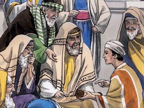 3 jours plus tard, ils retrouvent Jésus dans le temple, assis, en train d'échanger avec les maîtres. Symbolisme du nombre 3.
