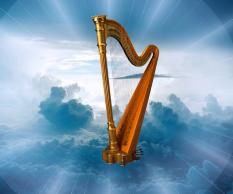 Les 144'000 tiennent une harpe et chantent des cantiques à Jéhovah Dieu et à l'Agneau qu'ils glorifient et louent!