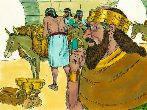 Le roi perse rend les ustensiles de la maison de Jéhovah que Nébucadnetsar a amenés de Jérusalem et placés dans le temple de son dieu. Un nombre total de 5'400 objets en or et en argent sont ramenés de Babylone à Jérusalem par Sheshbatsar et les exilés.