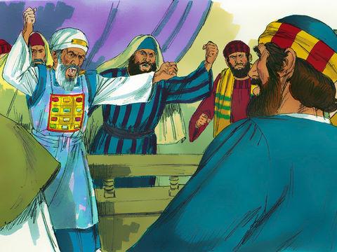 Les apôtres Pierre et Jean sont amenés devant le sanhédrin. Courageusement, les apôtres répondent à ceux qui les menacent : « Il faut obéir à Dieu plutôt qu'aux hommes »