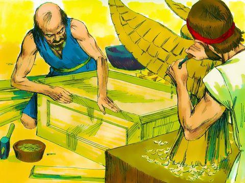 Betsaleel et Oholiab, deux artisans très habiles, ont construit l'ensemble du Tabernacle avec l'arche du témoignage et son propitiatoire en or massif, la table, l'autel des parfums, le chandelier d'or, l'autel des holocaustes, les vêtements sacerdotaux.