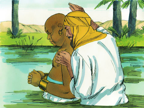 L'eunuque éthiopien se fait baptiser par Philippe après avoir compris l'explication de passage des Écritures