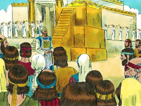 Après l'ordre de reconstruction donné par Darius Ier, les travaux progressent très rapidement et le temple est complètement reconstruit au mois d'Adar, la 6ème année de Darius Ier, nous sommes en 517 av J-C, 70 ans après la destruction de Jérusalem.