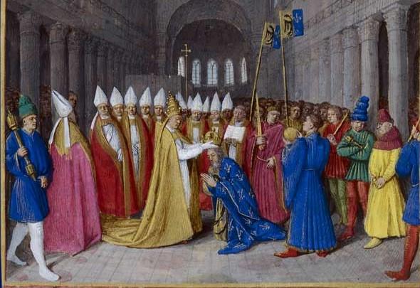 Charlemagne couronné empereur de l'Empire romain d'occident en 800 à la basilique saint Pierre de Rome par le pape Léon III. L'Empire romain d'occident ressuscité dirigé par un chef couronné par le pape au nom de Dieu et ne doit son pouvoir qu'à l'Eglise.
