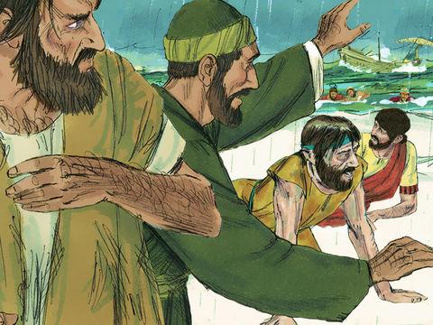 Alors qu'il voyage vers Rome, Paul, prisonnier,  subit une terrible tempête et le bateau fait naufrage sur l'île de Malte. Un ange sauve les 276 passagers du bateau. C'est un miracle. Seul le bateau est perdu.