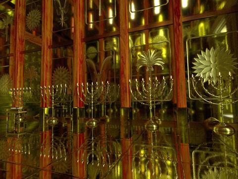Tous les ustensiles utilisés pour le culte de Jéhovah sont en or : l'autel des parfums, les chandeliers, les vases, la table à offrandes, l'arche de l'alliance, le propitiatoire.