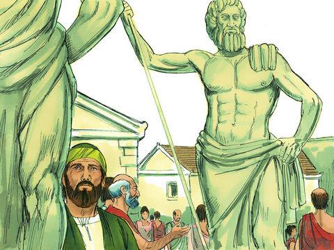 Alors que Paul se trouve à Athènes, il constate l'omniprésence d'idoles représentant de nombreuses divinités. Actes 17 :16 : « Pendant que Paul les attendait à Athènes, son esprit était profondément indigné à la vue de cette ville pleine d'idoles. »