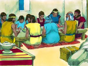 les Israélites mangeaient la viande rôtie de l'agneau sacrifié, avec du pain sans levain et des herbes amères tout en se tenant prêts à partir. Après la 10e plaie, les Israélites quittent l'Egypte.