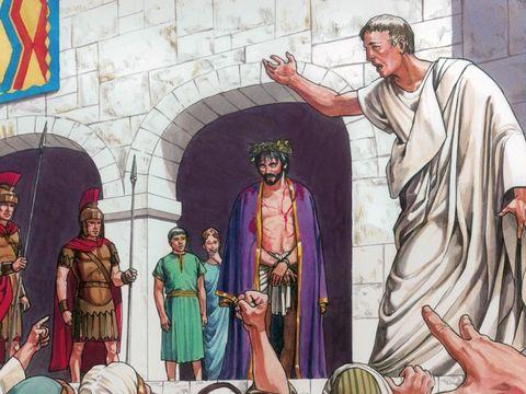 """Pilate veut relâcher Jésus car il ne voit aucun motif d'accusation, mais les Juifs s'écrient ensemble """"Fais-le mourir!"""""""