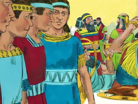 Les 4 Hébreux prennent à cœur de servir leur Dieu Jéhovah et d'éviter les aliments interdits par la Loi mosaïque ou rendus impurs par les rites païens. Ils demandent au chef des eunuques de ne pas les obliger à se souiller avec les plats servis à la table