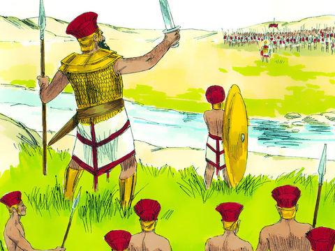 Goliath un Philistin géant s'est présenté pendant 40 jours afin de narguer les Israélites et leur demander un adversaire qui ose se batte contre lui. Goliath, venait de Gath et mesurait environ 3 mètres. Sa cuirasse en bronze pesait près de 60 kg.