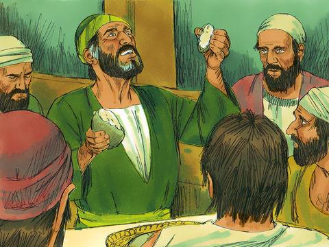 Paul rassure les 276 passagers du bateau : un ange de Dieu lui a dit que tous seraient sains et saufs, seul le bateau serait perdu.