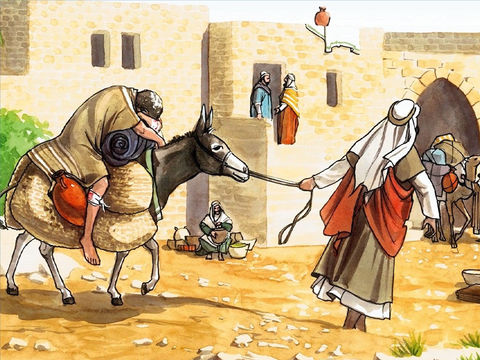 Le Bon Samaritain de la célèbre parabole de Jésus-Christ secourt l'homme qui a été agressé et laisser pour mort, il l'emmène sur sa monture jusqu'à une auberge.