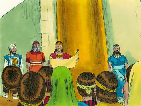 Darius Ier ordonne alors à Thathnaï de laisser se poursuivre les travaux en s'assurant qu'il n'y ait plus aucune interruption, de rembourser tous les frais de construction et de fournir tout ce qui est nécessaire pour les holocaustes au Dieu du ciel.