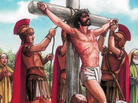 Jésus est crucifié par les Romains sous les ordres de Ponce Pilate mais à la demande des Juifs. Ce sont donc les Juifs qui ont réellement mis Jésus à mort.