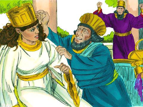 En revenant dans la salle de banquet, le roi trouve Haman affalé contre le siège d'Esther et dit : «Ira-t-il jusqu'à violer la reine en ma présence, dans le palais?»  Aussitôt on recouvre le visage d'Haman.