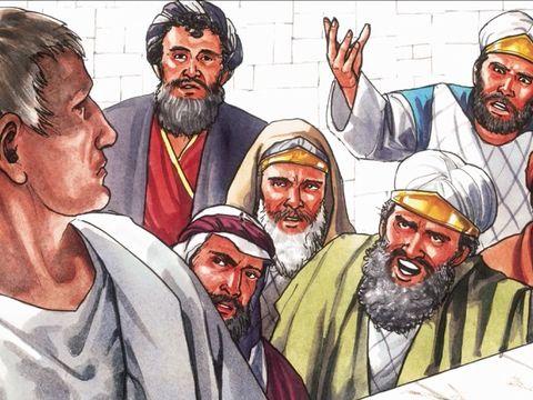 Jésus se retrouve seul face à une foule haineuse qui crie de plus en plus fort : « Qu'il soit crucifié!».