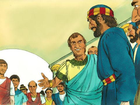 Juste après, Pierre accompagne des hommes envoyés par Corneille, un officier romain de Césarée qui a reçu la visite d'un ange. Le message chrétien s'étend alors aux non-Juifs.