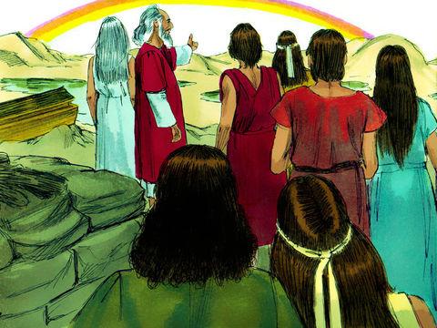 Après le déluge, Dieu fait une promesse à Noé et à tous les humains: il n'y aura plus jamais de déluge. Cette promesse concerne toutes les âmes ou êtres vivants, humains ou animaux. L'arc en ciel témoignera de l'alliance établie entre Dieu et la terre.