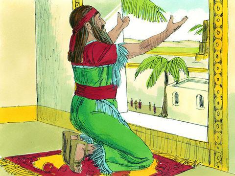 Pendant 30 jours, celui qui adresse une prière à quelqu'un d'autre que le roi Darius sera jeté dans la fosse aux lions.  Bien évidemment, Daniel ne peut obéir à cet ordre, il est rapidement surpris en train de prier son Dieu, Jéhovah, puis dénoncé au roi.