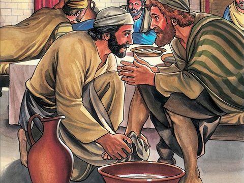 Jésus nous donne un puissant enseignement d'humilité en lavant les pieds de ses apôtres, ils ne doivent pas se considérer supérieurs aux autres