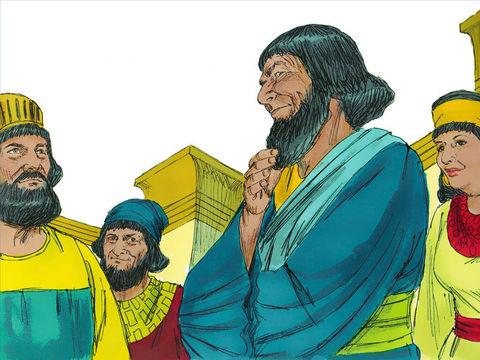 Mais tout cela n'a aucune valeur tant qu'il verra Mardochée, le Juif, assis à la porte du roi. Sa femme et ses amis lui suggèrent de préparer une potence de 25 m de haut et de demander au roi qu'on y pende Mardochée dès demain matin.