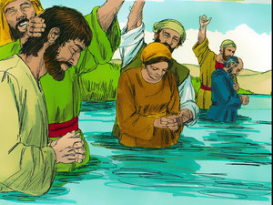 Grâce à l'action de l'esprit saint de Dieu qui a été envoyé par Jésus-Christ, de très nombreuses personnes se convertissent au christianisme et se font baptiser. 3000 en un seul jour !