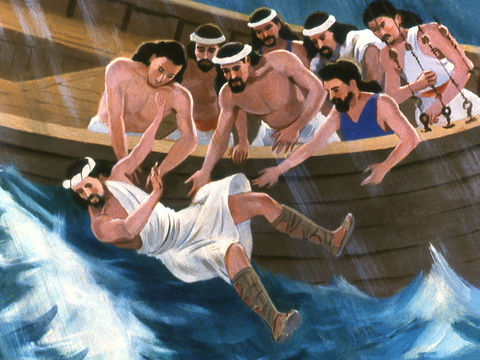 Les matelots terrifiés jettent Jonas à la mer. Le vent se calme. Jonas doit accomplir sa mission: avertir les habitants de Ninive que leur destruction est proche.