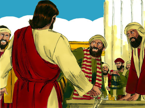 La Pâque juive était proche et Jésus monta à Jérusalem. Il trouva les vendeurs de bœufs, de brebis et de pigeons ainsi que les changeurs de monnaie installés dans le temple. Alors il fit un fouet avec des cordes et les chassa tous du temple.