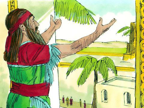 Le roi angoissé dit à Daniel : «Que ton Dieu, que tu sers avec persévérance, veuille te délivrer!» Après une nuit sans sommeil, le roi se précipite de bon matin à la fosse aux lions. Il appelle Daniel d'une voix triste : Daniel, serviteur du Dieu vivant !