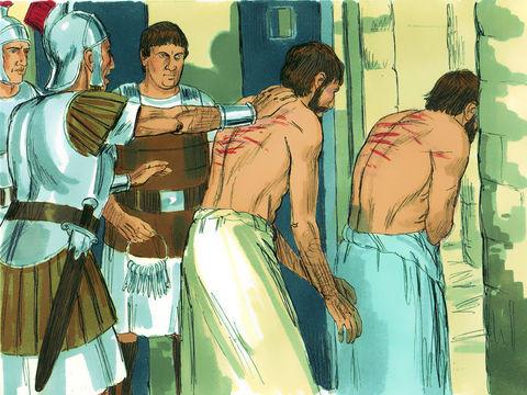 A Philippes, Paul et Silas sont roués de coups et jetés en prison par des païens. Alors qu'ils ont les pieds emprisonnés dans des entraves, un violent tremblement de terre ébranle jusqu'aux fondations de la prison. Le gardien de prison devient chrétien.